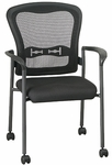 Pro-Line II Titanium Finish ProGrid® Mesh Back Visitors Stack Chair with Arms and Casters - Black [84540-30-OS]