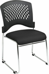 Pro-Line II Visitors Chair with Plastic Back and Padded Fabric Seat - Set of 2 - Black [8455C2-30-OS]