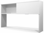 Pro-Linea Hutch with Closed Storage Space and Sliding Door - White [120520-1117-FS-BS]