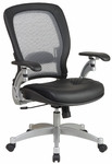 Space Professional Light Air Grid Back Office Chair with 2-to-1 Synchro Tilt,Leather Seat and Platinum Finish Accents - Black [3680-FS-OS]