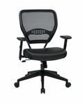 Space Professional Air Grid Back Managers Chair with Eco Leather Seat and 2-to-1 Synchro Tilt Control - Black [5700E-FS-OS]