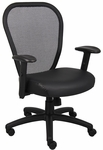 Professional Managers Mesh Chair with Leather Seat - Black [B6808-FS-BOSS]