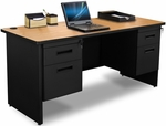 Pronto® 60'' W x 24'' D Double Pedestal Credenza - Oak Laminate with Black Finish [PCR6024DP-BK-OKPU-FS-MVL]