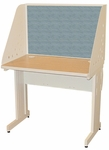 Pronto® 36'' W x 30'' D School Training Table with Carrel and Lockable Raceway - Putty Finish with Slate Fabric [PRCL0011-UT8568-FS-MVL]
