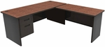 Pronto® Solid Steel Single Pedestal Desk with Return - Dark Neutral Frame with Mahogany Top [PRNT1-FS-MVL]