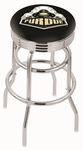 Purdue University 25'' Chrome Finish Double Ring Swivel Backless Counter Height Stool with Ribbed Accent Ring [L7C3C25PURDUE-FS-HOB]