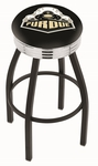 Purdue University 25'' Black Wrinkle Finish Swivel Backless Counter Height Stool with Ribbed Accent Ring [L8B3C25PURDUE-FS-HOB]