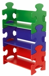 Kids 37.5''H Wood Puzzle Pieces Shaped Three Shelves Bookshelf - Primary [14400-FS-KK]