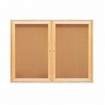Quartet Cork Boards - 2 Door - 4' x 3' - Oak Frame [QRT364-FS-SP]