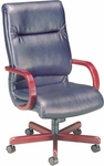 Quick Ship 1200 Series Executive Swivel Chair with Wood Arms [1211-FS-HPF]