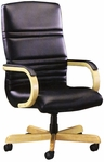 Quick Ship 1200 Series Executive Swivel Chair with Wood Arms and Upholstered Arm Cap [1241-FS-HPF]