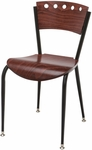 Quick Ship 3800 Series Steel Frame Armless Cafe Chair with Contoured Wood Back and Wood Seat - Mahogany [3818A-SB-ST19-QS-IFK]