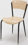 Quick Ship 3800 Series Steel Frame Armless Cafe Chair with Contoured Wood Back and Wood Seat - Natural [3818A-SB-ST16-QS-IFK]