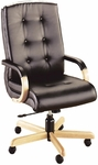 Quick Ship 3900 Series Executive Swivel Chair with Wood Arms [3901-FS-HPF]