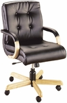 Quick Ship 3900 Series Management Swivel Chair with Wood Arms [3907-FS-HPF]