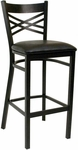 Quick Ship Lattice Back Metal Barstool - Black Vinyl Seat [78-BS-BVS-SAT]