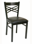 Quick Ship Lattice Back Metal Dining Chair - Black Vinyl Seat [78-BVS-SAT]