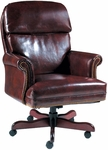 Quick Ship Leader Executive Chair with Nail Trim,  Fully Upholstered Arms and Wood Base [192-FS-HPF]