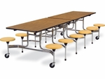 MTS Series Medium Oak Mobile Folding Table with 17''H Squash Stools - Char Black Edge and Chrome Frame - 58''W x 120''D x 29''H [MTS17291012-OAK084-BLK01YLW47-CHRM-VCO]