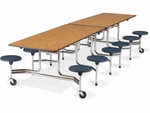 MTS Series 12'L Medium Oak Mobile Folding Table with 17''H Navy Stools - Char Black Edge and Chrome Frame [MTS17291212-BLU51-OAK84-BLK01-CHRM-VCO]