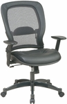 Quick Ship NexStep Black Leather Executive Chair with Mesh Back [751-FS-HPF]