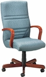 Quick Ship Quick Silver Executive Swivel Chair with Horizontal Back Stitching [1831-FS-HPF]