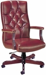 Quick Ship Quick Silver Executive Swivel Chair with Tufted Back [4831-FS-HPF]