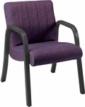 Quick Ship Scoop Arm Chair with Channel Back and Black Arms [1093-FS-HPF]