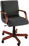 Quick Ship Scoop Management Chair with Wood Arms [1007-FS-HPF]