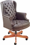 Quick Ship Traditional Series Tufted Wing Back Swivel Chair [4077-FS-HPF]