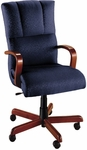 Quick Ship Trifecta Executive Swivel Chair with Wood Arms [1621-FS-HPF]