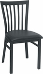 Quick Ship Vertical Slat Back Metal Dining Chair - Black Vinyl Seat [87-BVS-SAT]