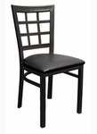 Quick Ship Window Back Metal Dining Chair - Black Vinyl Seat [85-BVS-SAT]
