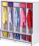 Rainbow Accents Coat Locker with Step - 5 Sections [0468JCWW005-JON]