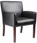 Mid Back Mahogany Finish Reception Box Arm Chair - Black [B629M-FS-BOSS]