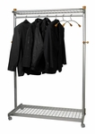 ALBA'S Metal Reception Mobile Garment Rack with Base and Top Shelves - Chrome [PMLUX6-FS-ABA]