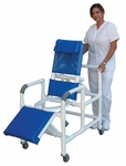 Reclining Shower Chair with Open Front Commode and Elevated Leg Extension and Casters - 24''W X 18''D X 48''H [193-MJM]