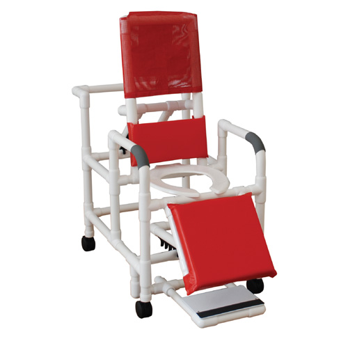 Reclining Shower Chair with Elevated Leg Rest and Casters
