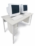 Rectangle Basic Computer Table with Glides - 36''W x 24''D [QWTCP2436-BRET]
