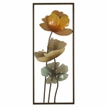 Rectangle Metal Framed Wall Decor with Acrylic Flowers [2624-FS-PAS]