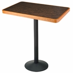 Rectangle Pub Height Barista Table with Wood Edges [HTBBR-2430-WOOD-FS-SFW]