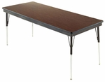 Customizable Rectangular Non-Folding Adjustable Height Activity Table with Adjustable Chrome Inserts - 24''W x 48''D x 23-30''H [SA-248-C-BKS]