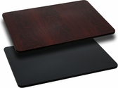 Rectangular Restaurant Table Top with Reversible Black or Mahogany <font color = blue><b>Laminate</b></font> Top