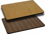 Rectangular Restaurant Table Top with Reversible Natural or Walnut <font color = blue><b>Laminate</b></font> Top [BFDH-NATWALREC-TDR]