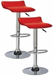 Favorite Finds Height Adjustable Swivel Bar Stool with Faux Leather Seat - Set of 2 - Red [10042RD-FS-LCK]