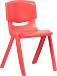 Red Plastic Stackable School Chair with 18'' Seat Height [YU-YCX-007-RED-GG]