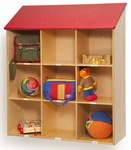Red Roof Birch Laminate Wall Storage with 9 Open Storage Cubbies [WB6144-FS-WBR]