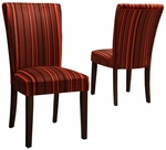 Red Stripe Design Fabric Dark Brown Dining Parson Chair-Set Of 2 [721F14S-2PC-FS-HOM]