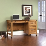 Registry Row Wooden Desk with Wrought Iron Style Hardware and Accents - Amber Pine [412267-FS-SRTA]