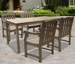 Renaissance 5 Piece Outdoor Dining Set with Table and 4 Arched Full Vertical Slat Back Arm Chairs [V1297SET4-FS-VIF]